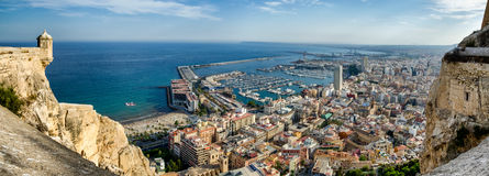 All Alicante in one image with sea, port, city and castle, Spain Royalty Free Stock Images