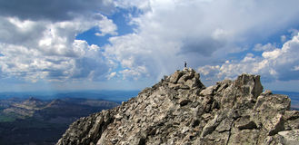 All Alone. Hicker on South Teton Summit, Grand Teton National Park, Wyoming Royalty Free Stock Images