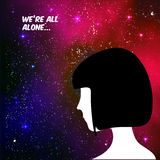 We are all alone concept illustration. Human head on galaxy space background. We are all alone concept illustration with human on space background and text Stock Image