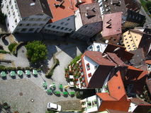 All Along the Church Tower. A view of a German town from the church tower gives an interesting perspective Royalty Free Stock Images