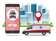 All ambulance car via mobile phone, emergency call. Ambulance car, hands dialing number ambulance service operator. Hospital building. Sos mobile concept for Stock Image