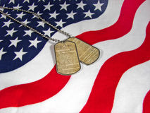 Flag with constitution on dog tags  Royalty Free Stock Images