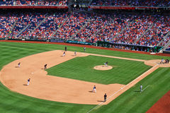 All American Baseball Game. A view of a baseball game at Nationals Park, home of the Major League Baseball Washington Nationals, on a beautiful sunny day in the Royalty Free Stock Image