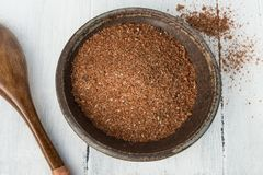 All American BBQ Rub seasoning. Homemade All American barbecue rub in a rustic pottery bowl royalty free stock photography