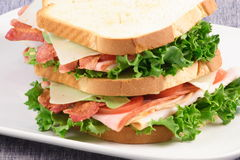 All american club sandwich. Fresh sandwich made with organic selected ingredients Stock Photo