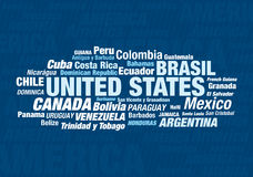 All the american countries. All the names of the american countries Royalty Free Stock Image