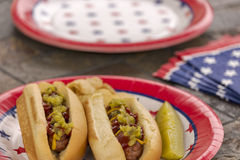All American grilled hotdogs at a patriotic holiday BBQ Royalty Free Stock Photography