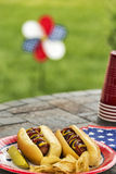 All American hotdogs at a patriotic cookout. Grilled hotdogs are a staple at July 4th cookouts. This pair is served with ketchup and mustard along with potato Royalty Free Stock Photo