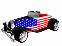 All American Hotrod. Classic Vintage Hotrod painted with the American Flag vector illustration