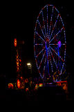 All American:Red, White and Blue July 4th Ferris Wheel in Carnival at Night Royalty Free Stock Photography