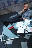 all around businessman call feet papers up Στοκ εικόνες με δικαίωμα ελεύθερης χρήσης
