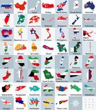 All asian maps mixed with flags. Vector illustration Stock Image