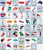 All asiat kartlägger blandat med flaggor också vektor för coreldrawillustration Fotografering för Bildbyråer