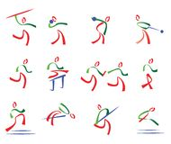 All athletics set of sport icons Royalty Free Stock Photography
