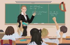 All'aula l'insegnante insegna al per la matematica illustrazione vettoriale