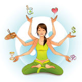 All in Balance. Girl with six arms is meditating in a lotus pose and balancing symbols with her hands Stock Images