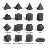 All basic 3d shapes template in dark vector illustration