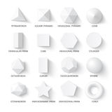 All basic 3d shapes. Template. Realistic with shadow. Perfect for school, study, designers Stock Images