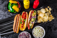 All beef dogs, variantion of hot dogs Stock Image