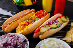 All beef dogs, variantion of hot dogs Stock Photography