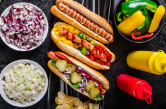 All beef dogs, variantion of hot dogs Royalty Free Stock Image