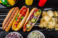 All beef dogs, variantion of hot dogs Royalty Free Stock Photography