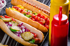 All beef dogs, variantion of hot dogs Royalty Free Stock Photos