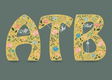 All the Best. Folk Letters with Pearl Collars stock images