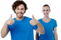 All the best friends !. Happy male gesturing thumbs up to camera Royalty Free Stock Image
