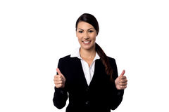 All the best for your business !. Corporate woman showing thumbs up to camera Stock Photography
