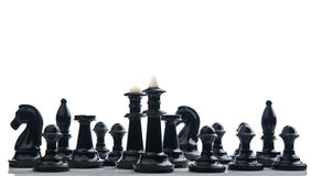 All black chess pieces Stock Images