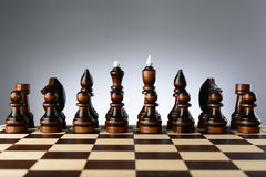 All the black pieces on chessboard Royalty Free Stock Photos