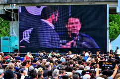 All Blacks coach Steve Hansen speek to the crowd in Victoria Par Royalty Free Stock Images