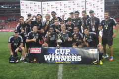 All Blacks -Cup winners-Cell c  for 2012. All Blacks outscored france,seven tries to two with a score of 47 - 12 in the cup finals and defend the cell c nelson Stock Photography