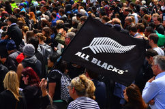 All Blacks fans in Victoria Park Auckland, New Zealand Royalty Free Stock Images