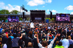 All Blacks fans in Victoria Park Auckland, New Zealand Royalty Free Stock Image