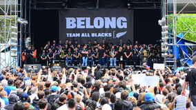 All Blacks fans in Victoria Park Auckland, New Zealand stock video footage