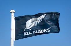 All Blacks Flag. Manawatu, New Zealand - July 29th 2017: All Blacks flag waving in the wind Stock Photos