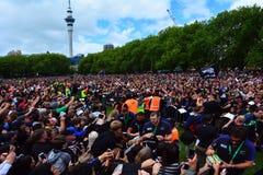 All Blacks team thanks to their fans Royalty Free Stock Photo