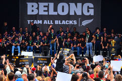 All Blacks team thanks to their fans. AUCKLAND,  NZL - NOV 04 2015:All Blacks team thanks to their fans in Victoria Park Auckland, New Zealand.The All Blacks are Royalty Free Stock Photo