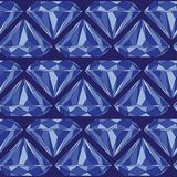 Blue Brilliant Cut Diamond Seamless Pattern vector illustration
