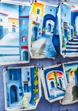 Blue leather drawings in chefchaouen stock photo