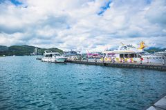 Sun moon lake. All these boats are belong to different boat operators which fetching tourists from places to places through Sun Moon Lake royalty free stock image