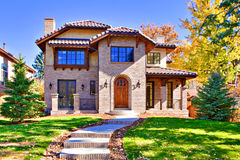 All Brick Home Front. All brick, two story luxury home in Denver, Colorado, United States Royalty Free Stock Photo
