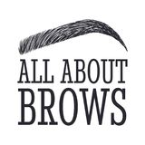 All About Brows. Text and eyebrow. Logo for brow bar. Design logo for brow bar Royalty Free Stock Photography