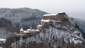 All buildings of Orava Castle in winter Stock Photos