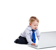 All Business. Little boy wearing a tie and typing on a laptop isolated on white royalty free stock images