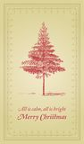 All is calm, All is bright - Christmas card. Christmas greetings card with vintage style. It reads All is calm, all is bright. Merry Christmas and has a Xmas Royalty Free Stock Photography