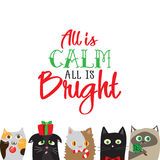 All is calm all is bright. Holiday greeting card with cute cat characters Stock Photos