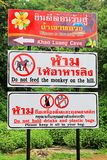 Notice Board In Tham Khao Luang Cave, Phetchaburi Province, Thailand stock photos